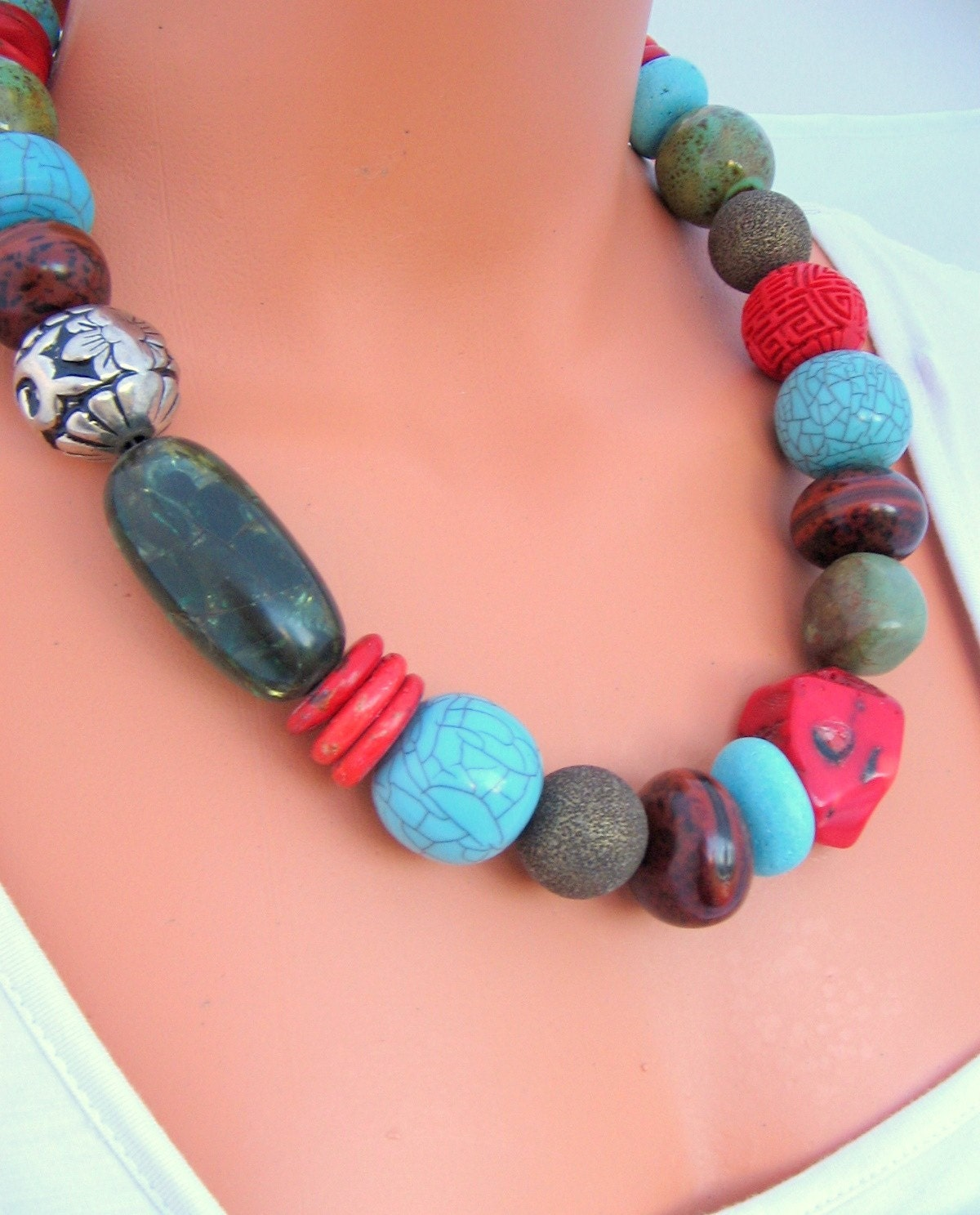 items similar to large colorful beaded necklace on etsy
