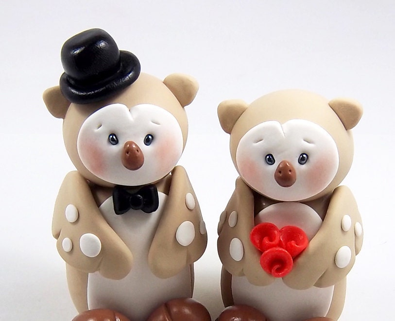 Owls Polymer Clay Figurines - Customized Wedding Cake Topper - Ready To Ship