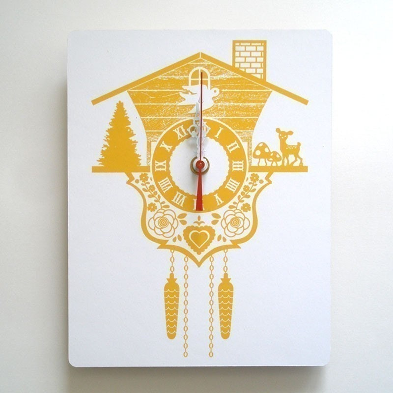 Wall Clock - Cuckoo Clock - Yellow - Wood Panel