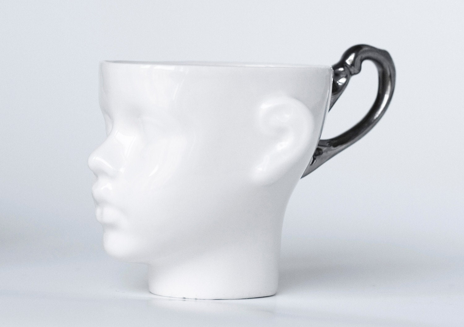 Whimsical doll head cup - white porcelain and silver artisan cup, whimsical ceramic design