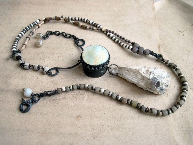 Angels of Torment. MOP Pillbox and Barnacle White Assemblage Necklace.