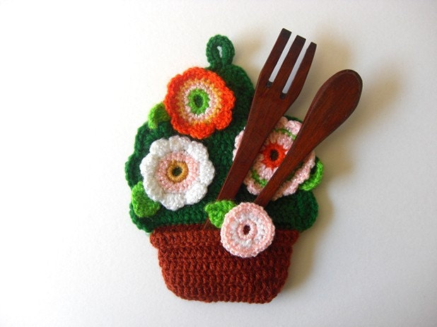 Pot Titular Árvore Grama Decor Flores Cozinha Crochet Folhas Tutorial-PDF Pattern