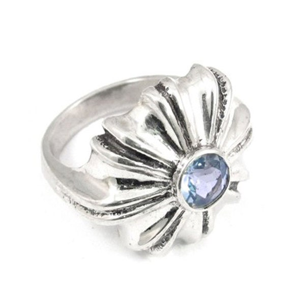 Shell inspired sterling silver ring with a stone - NatashaGjewellery