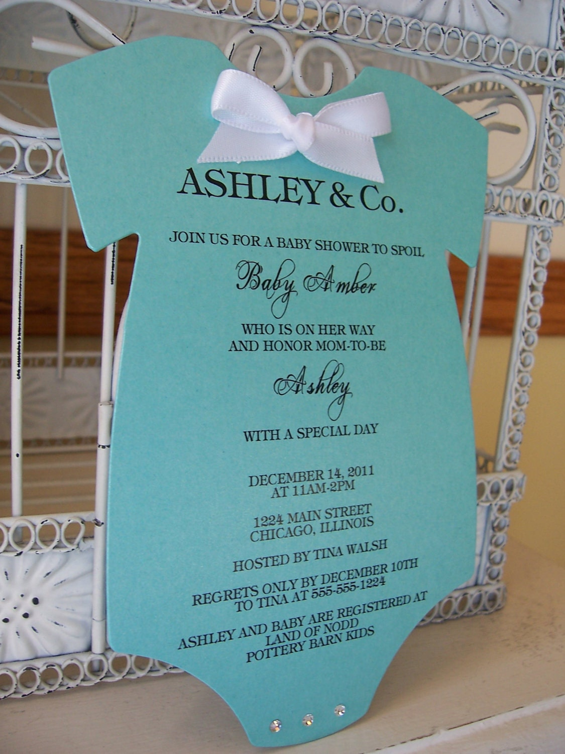 tiffany onesie baby shower invitations by beautifullyinviting