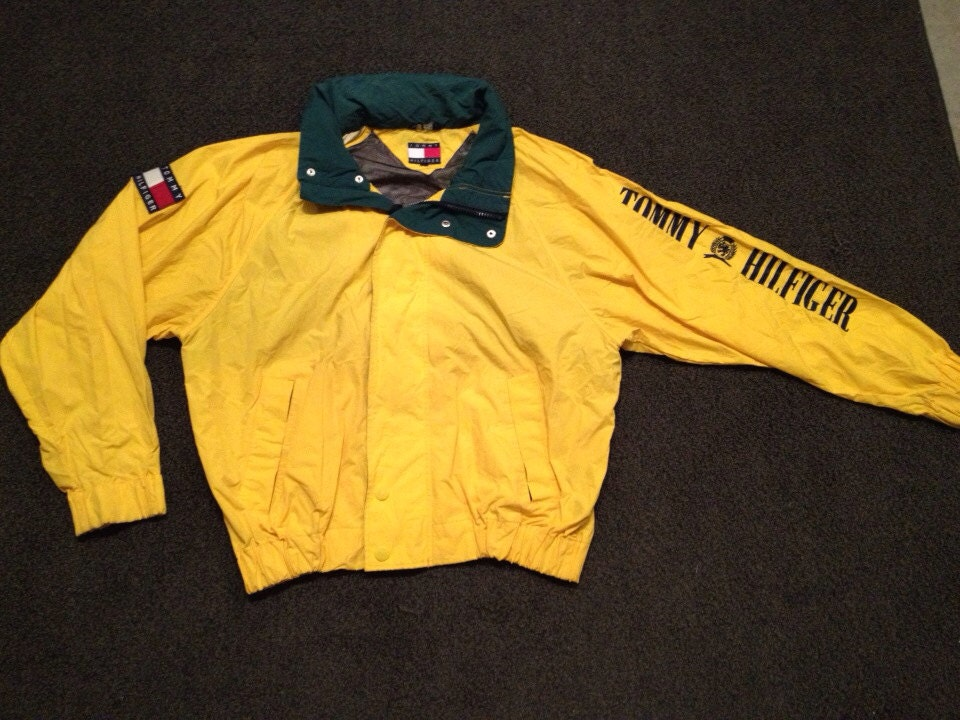 vintage mens yellow tommy hilfiger hooded nylon sailing polo sport. Black Bedroom Furniture Sets. Home Design Ideas
