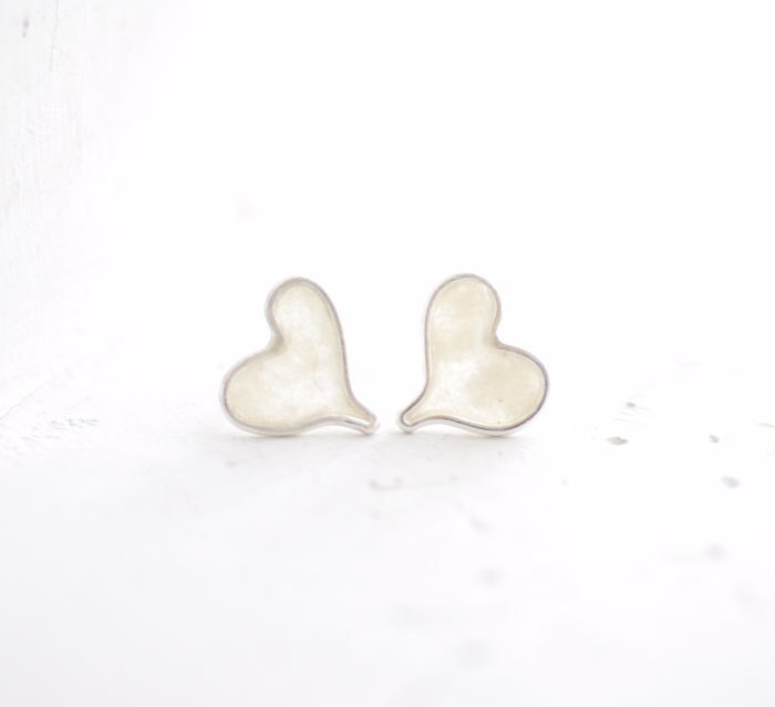 Snow White Heart Post Stud Earrings, Sterling Silver Paper Jewelry, Artisan Wearable Art... - TaylorsEclectic