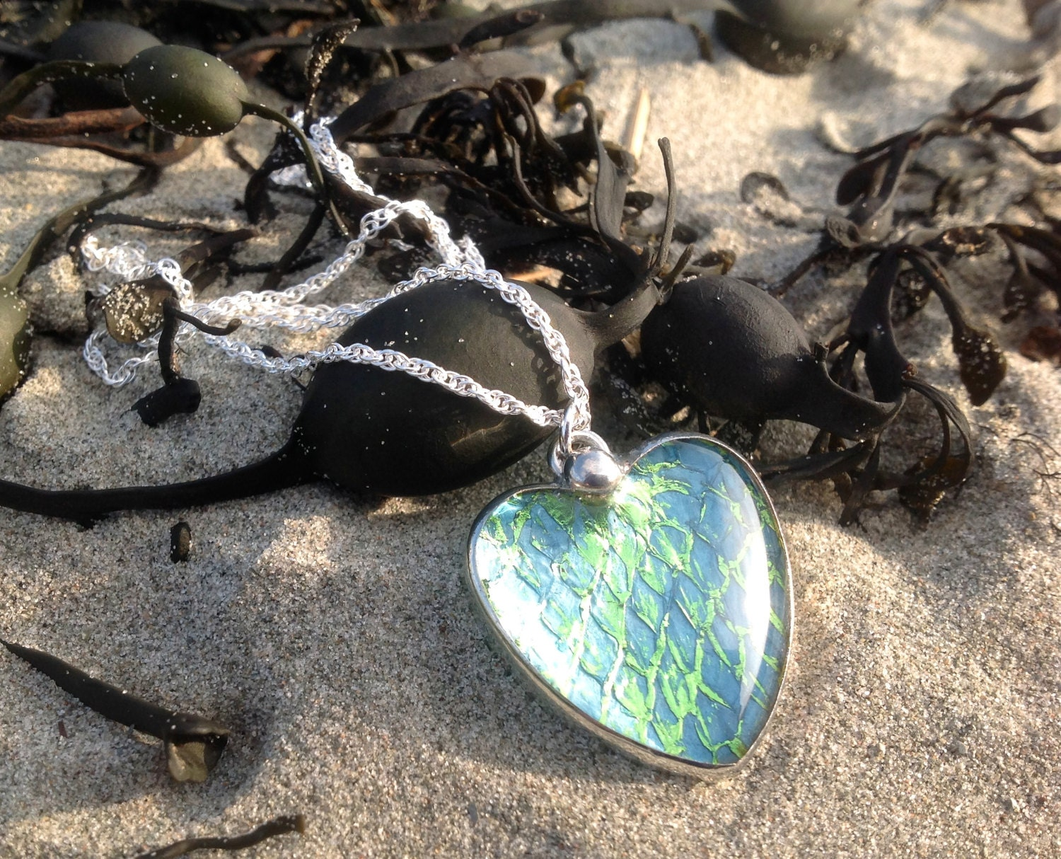Real Salmon Leather Mermaid Heart Pendant Necklace on a Sterling Silver Chain