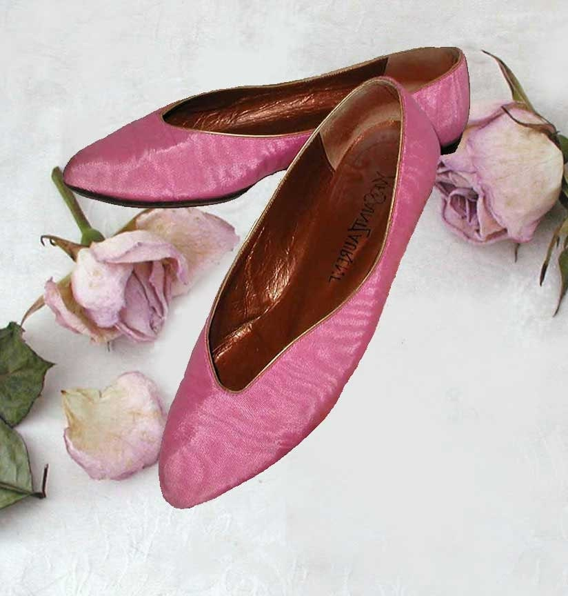 Yves Saint Laurent Pink Silk Moire Ballet Shoes Size By PruAtelier