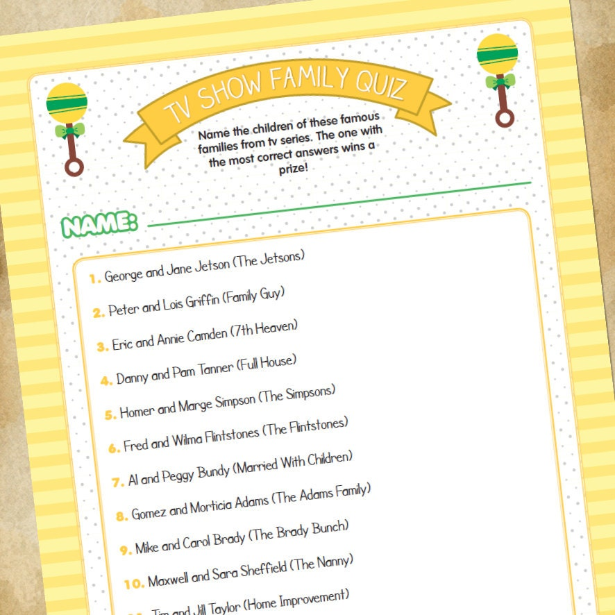 baby shower game tv families quiz generic by tinysandtea on etsy