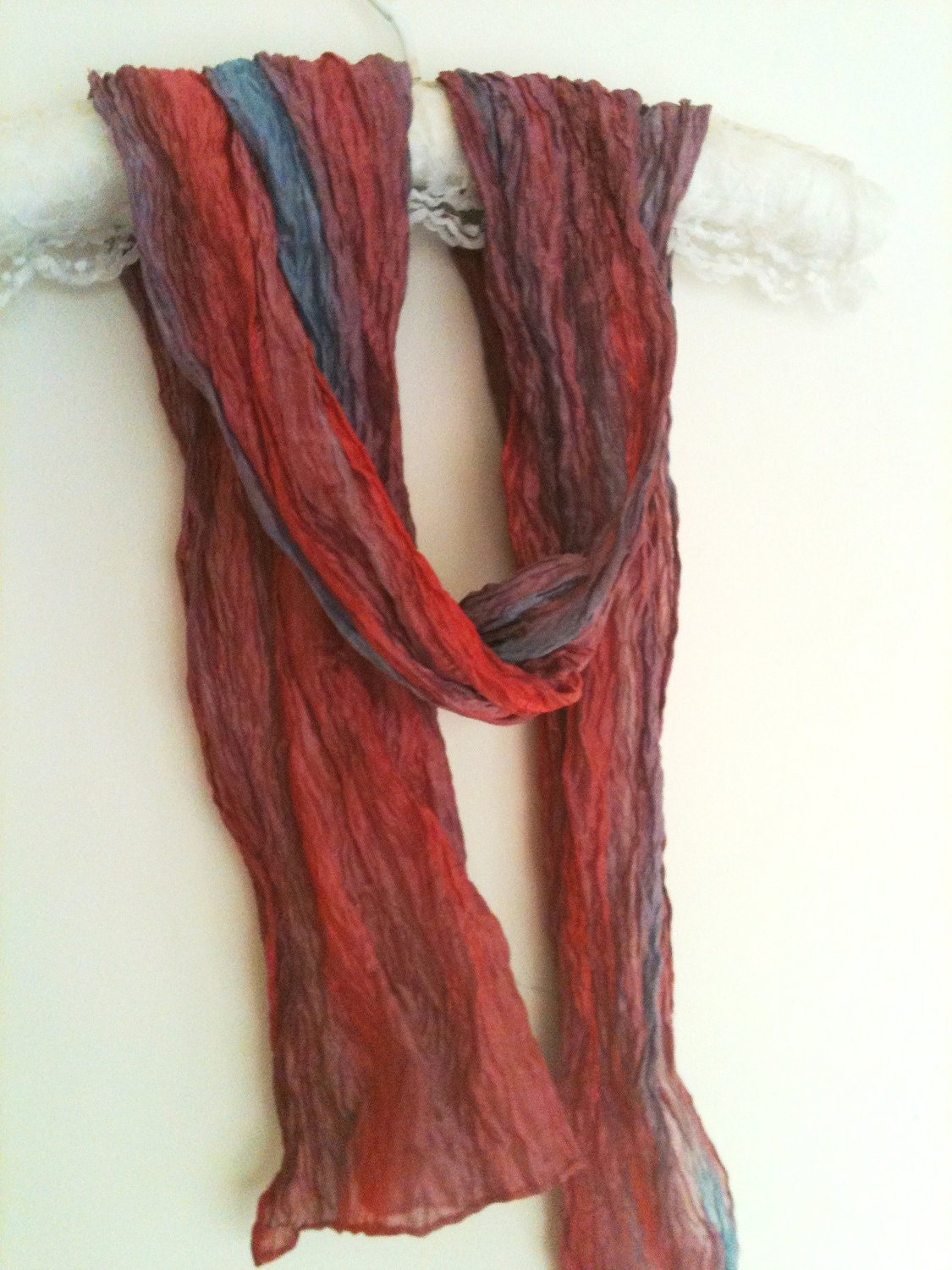 Red pink mauve blue silk & metal scarf