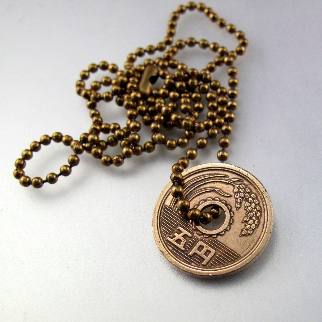 coin necklace japan japanese jewelry pendant by