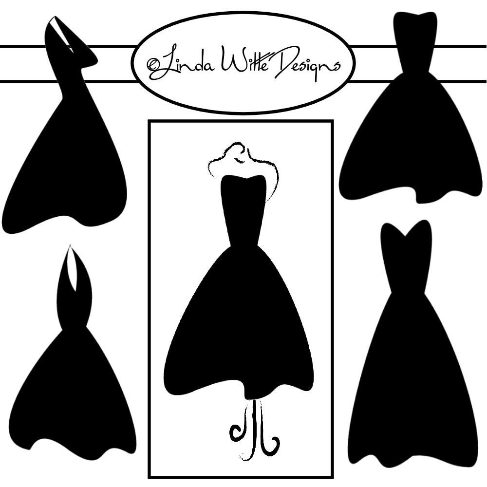 little black dress clip art by doodlebugsnlollipops on etsy