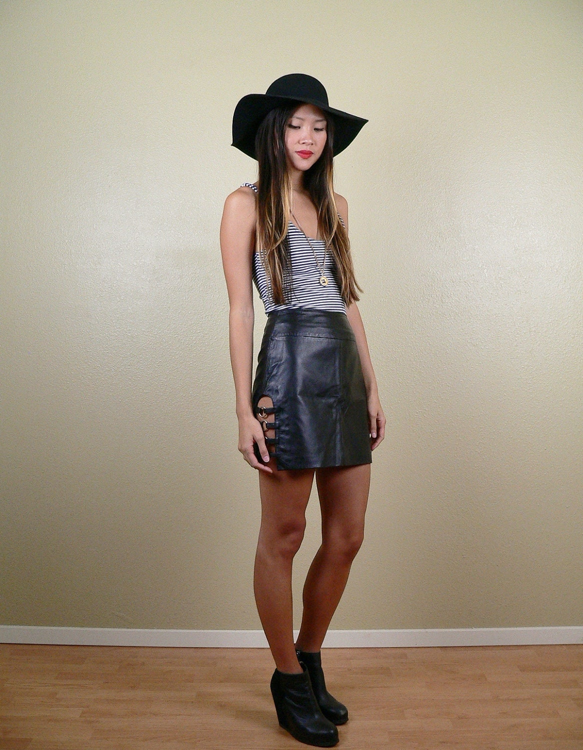 high waisted black leather mini skirt small by stellarvintique