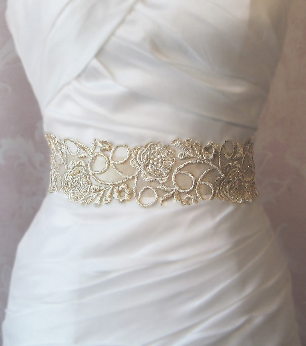 chagne gold lace bridal sash wedding gown by theredmagnolia