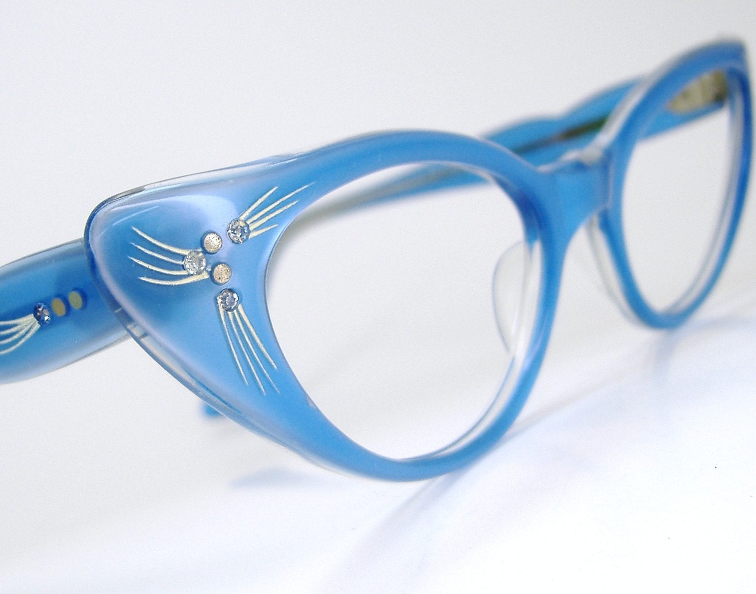 Vintage Blue 50s Cat Eye Glasses Sunglasses by ...