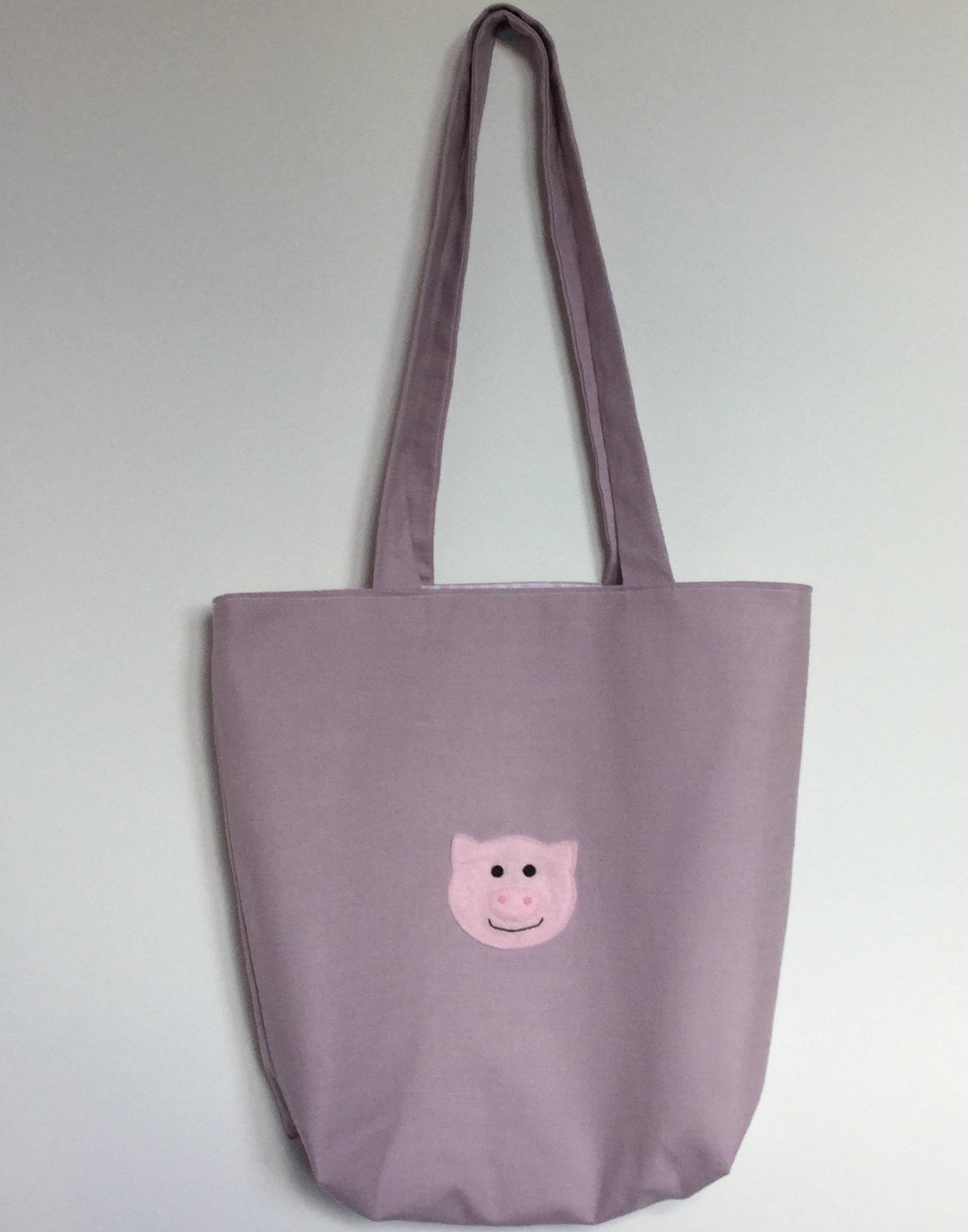Pig Tote Bag  Childs bag  handmade  Cute Piggy Bag  pink  dusky pink