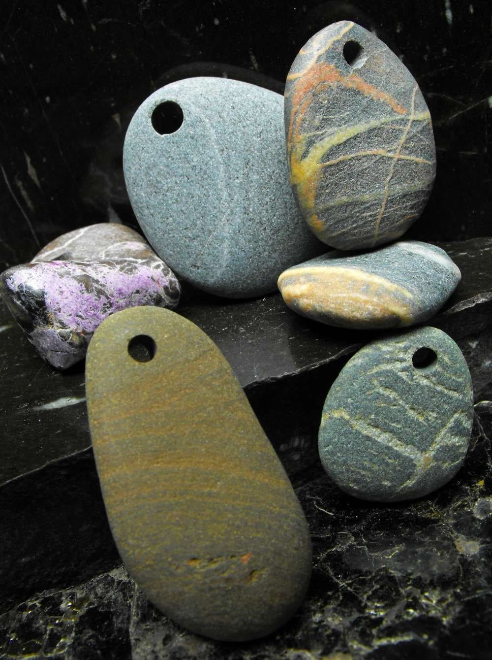 WILD n RUGGED Beach Pebble natural surf tumbled rock drilled genuine flat oval ovoid striped stones pendants