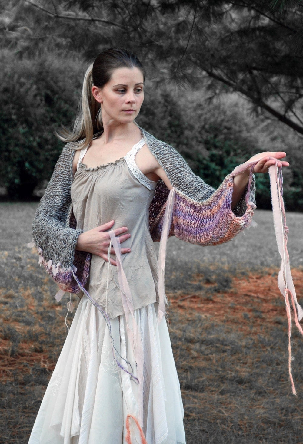 peaches and pixies . artistically handknit woodland shrug, with one-of-a-kind handspun yarns.
