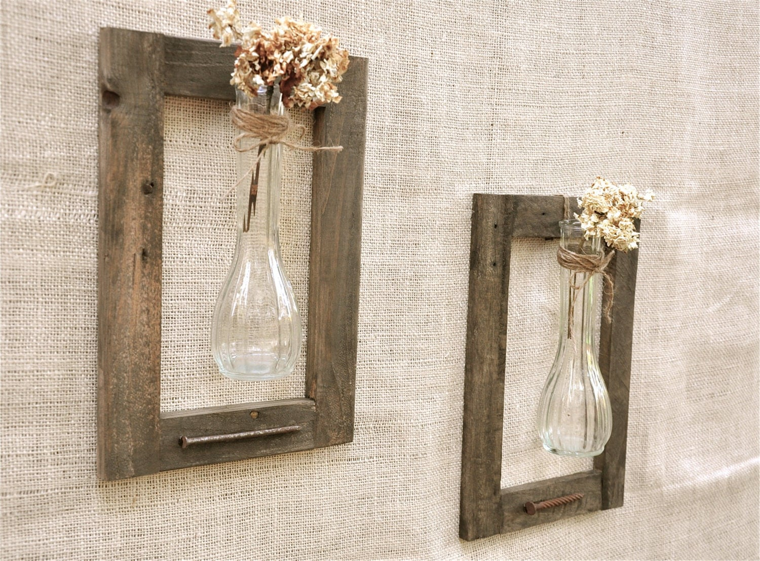 Pair of vintage vases and old wood frame rustic by for Handmade wall frames ideas