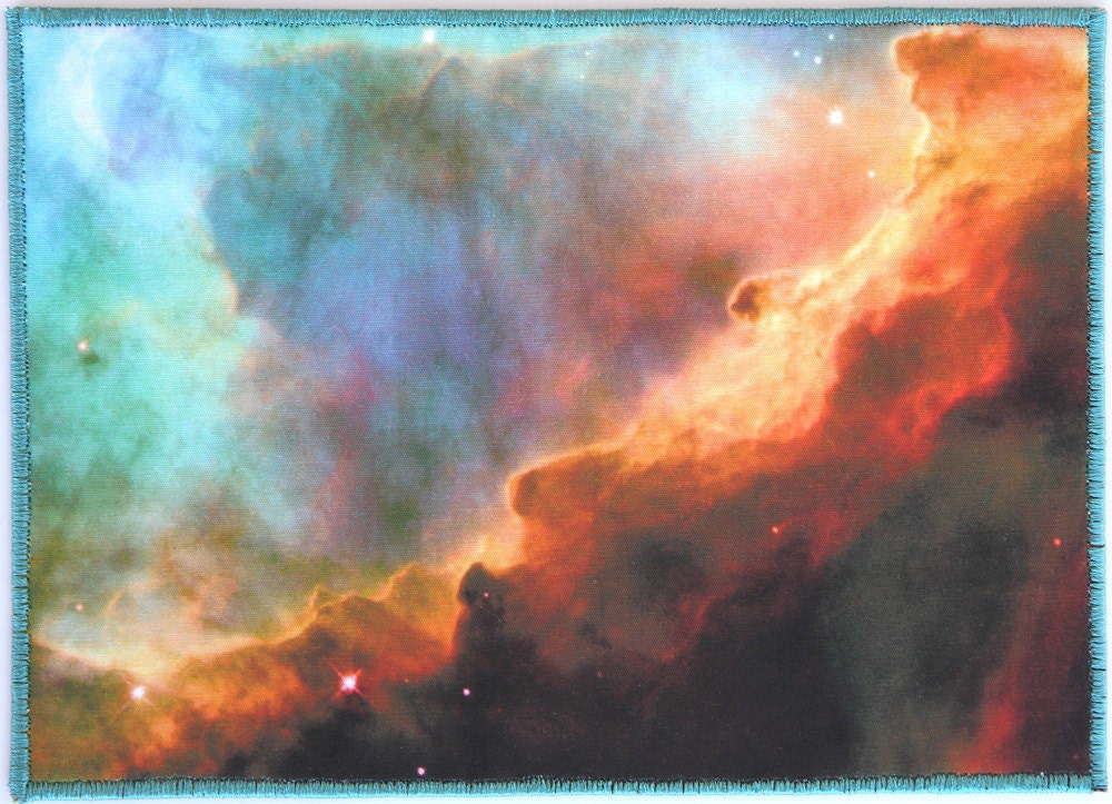 FABRIC POSTCARD Gold Blue Cyan Swan Nebula Stars Astronomy Photograph - CosmicTotes