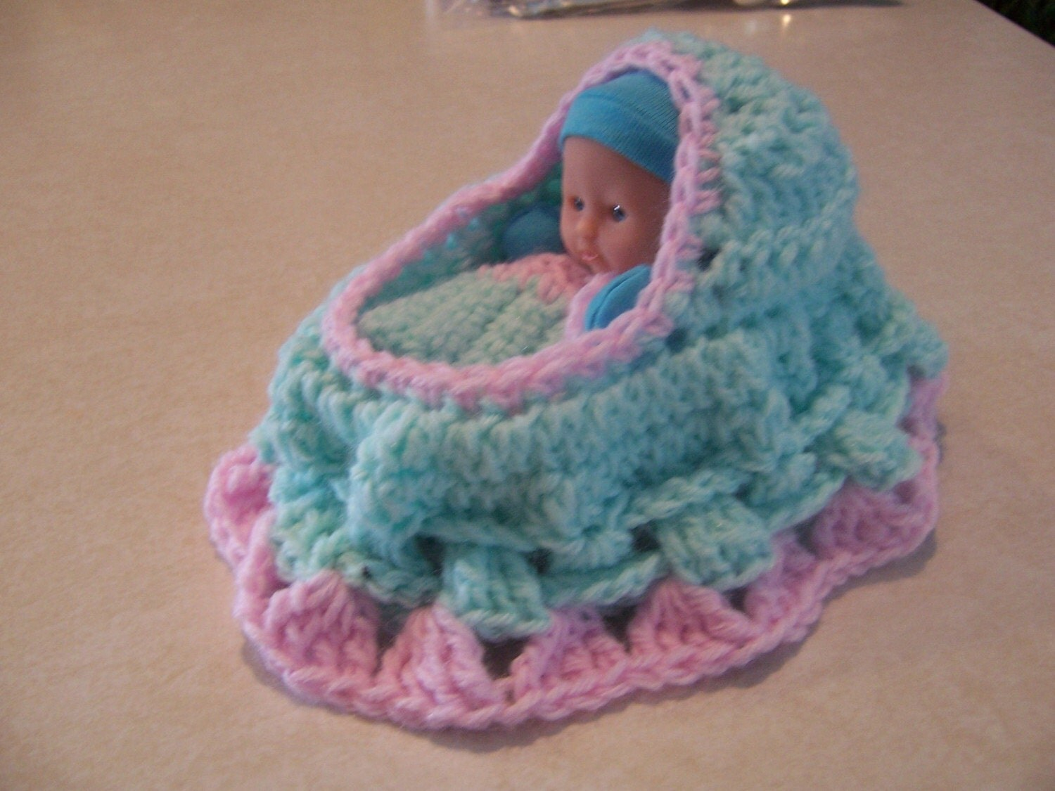 Crochet Bag Pattern Cotton : Crocheted Cradle Purse with Doll and Blanket by ...