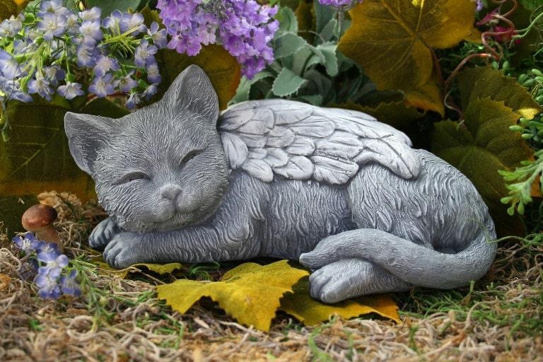 Angel cat statue cat memorial garden sculpture in by for Cat yard art