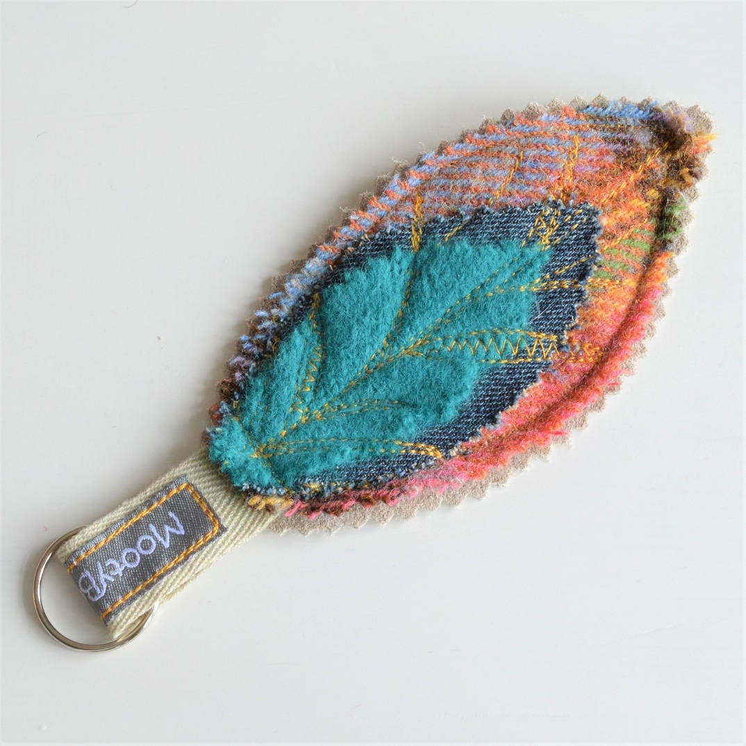 Handmade Leaf Key Fob Felted Wool and Suede Key Fob  Upcycled Key Chain Eco Gift  Ethical Gift Mothers Day