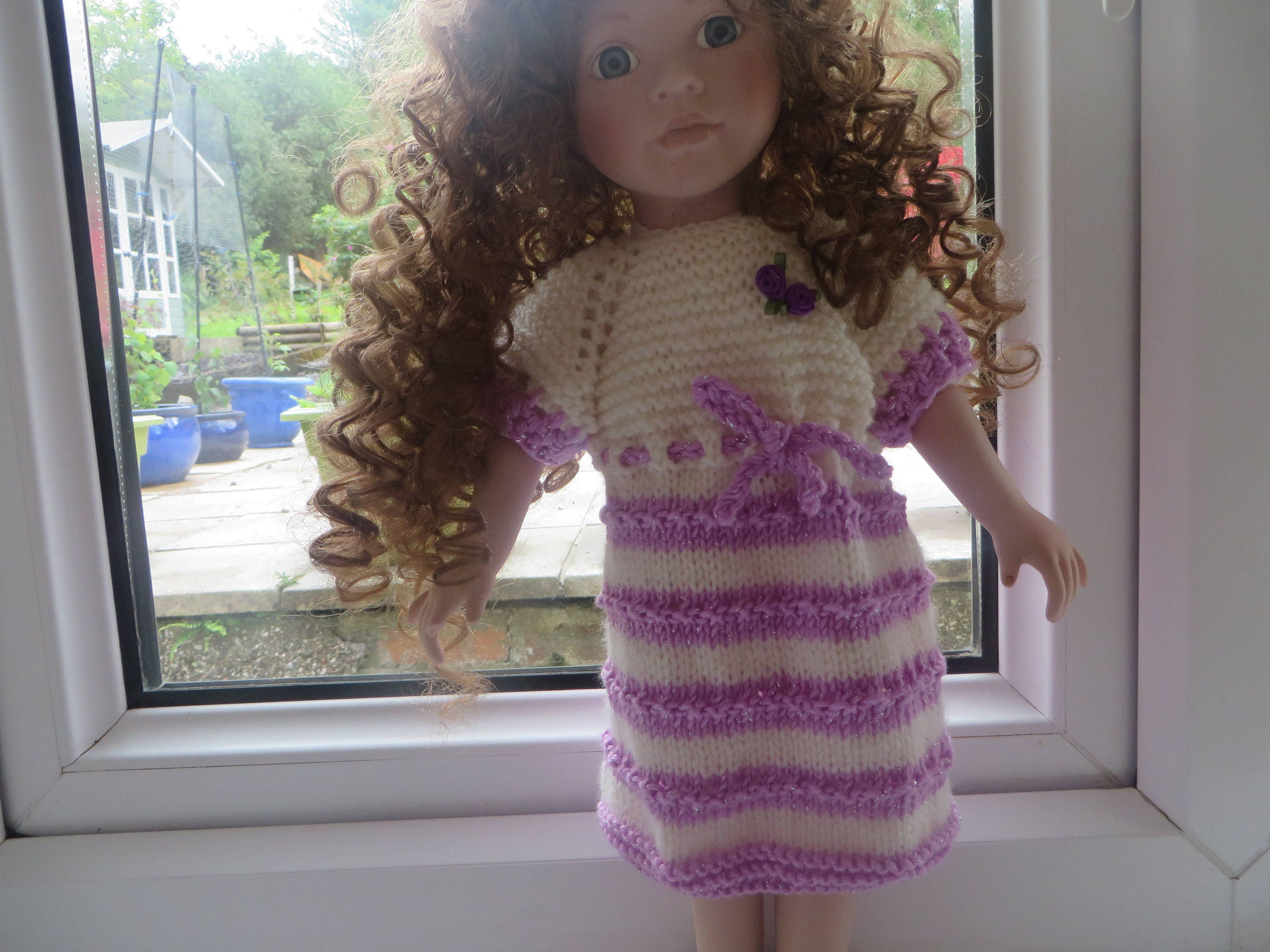 18 American Girl Doll and other Dolls this size Hand knitted Dolls clothes Dress in Cream and lilac with sparkle