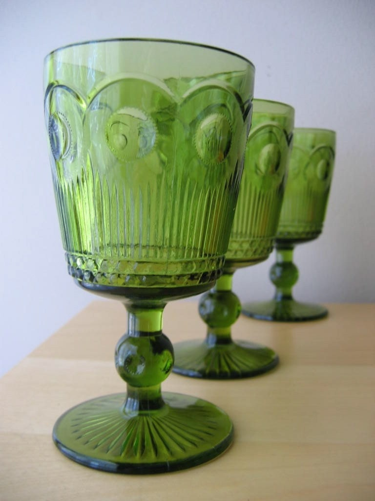 Vintage Thumbprint Pedestal Water Goblets In Green By