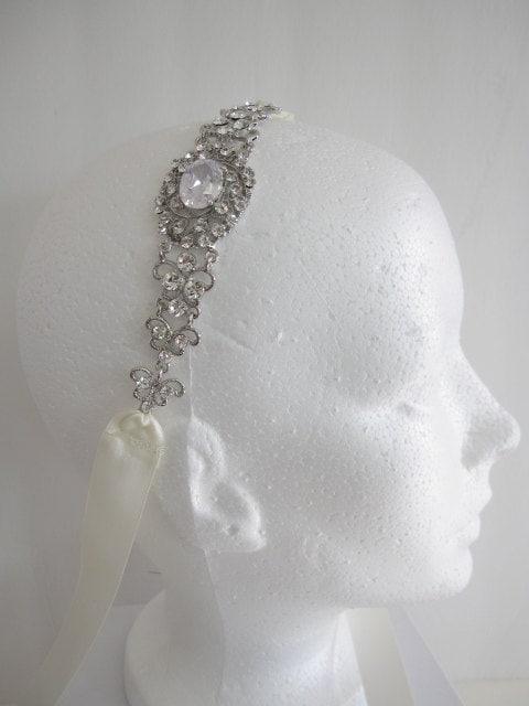 Crystal Bridal Headband,wedding headpiece,bridal hair accessories,wedding headband,rhinestone ribbon headband,wedding dress sash,bridal belt