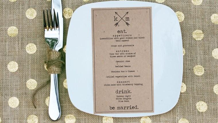 Eat Drink Be Married DIY Bow Amp Arrow Inspired Rustic Wedding Menu Printable PDF