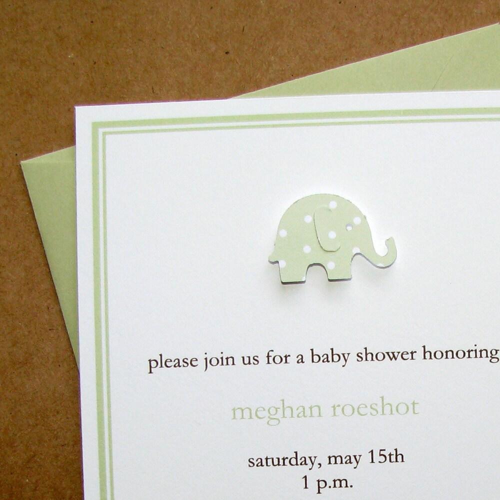 elephant baby shower invitations handmade celery polka dot heavy