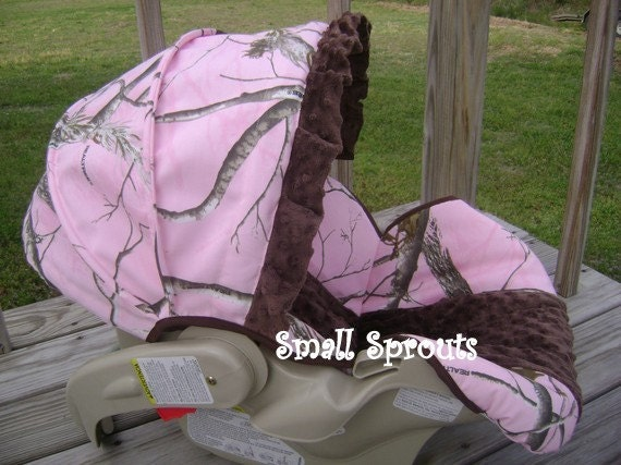 Items Similar To Real Tree Pink Brown Minky Dot Infant Car