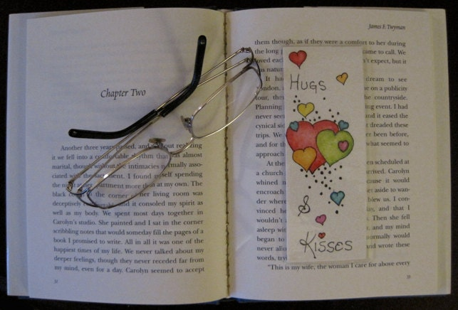 Handmade Original Pen & Ink Artwork, One of a Kind Love Hearts Bookmark, Valentine's Day Gift, Hugs and Kisses