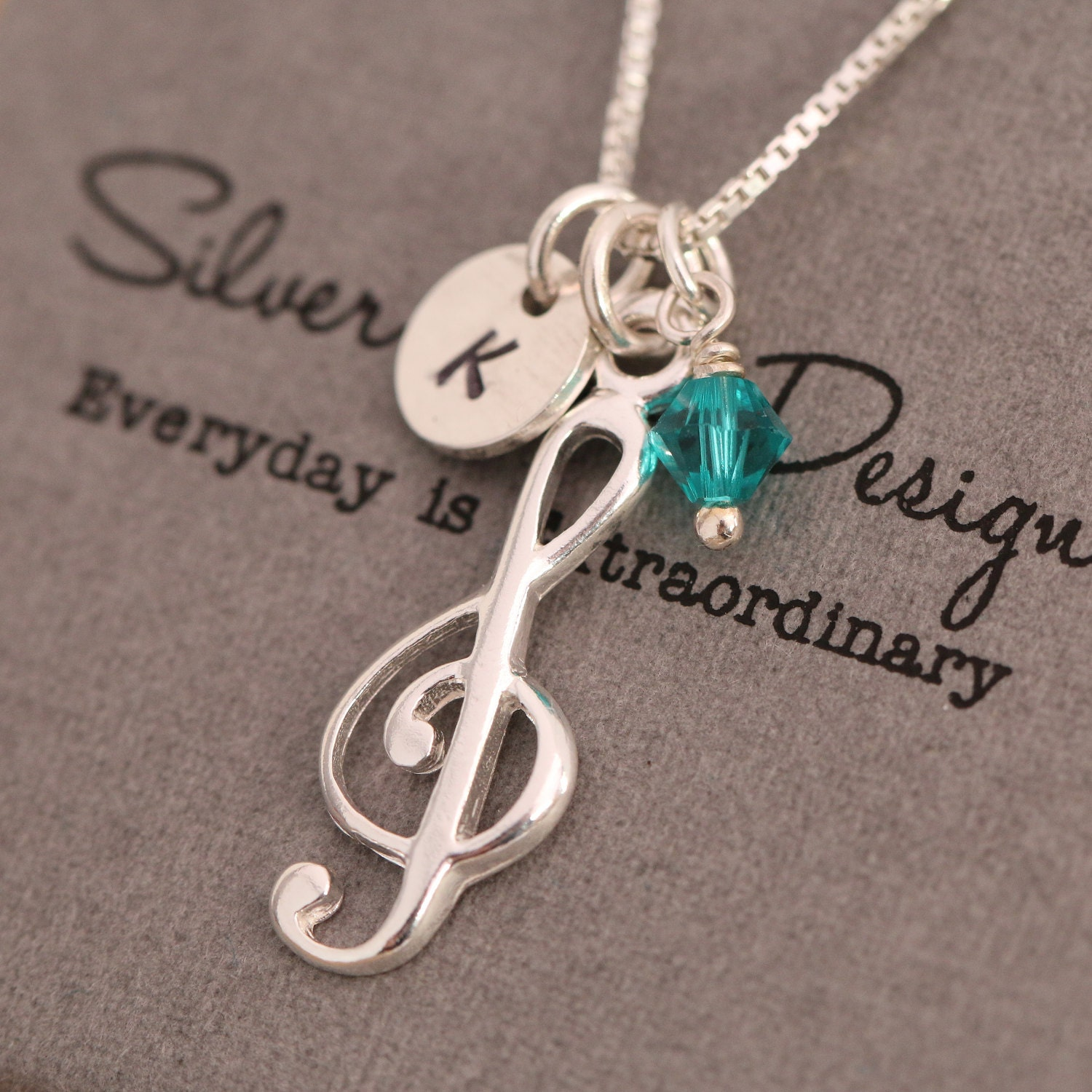 Bespoke Personalised Sterling Silver Personalized Treble Clef Pendant Necklace Birthday Present for Your Musician Friend with Gift Box