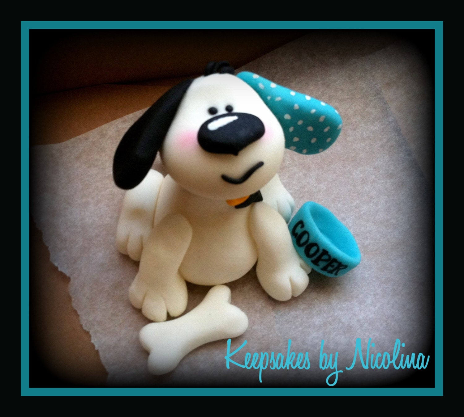 Blue Playful Puppy Cake Topper - KeepsakesByNicolina