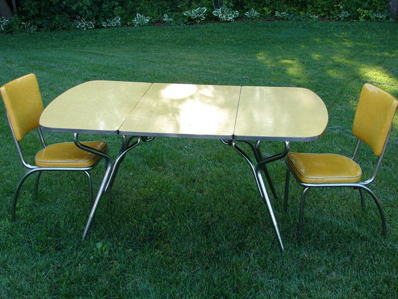 Vintage Yellow Drop Leaf Formica Table and Two by ThirdShift : il570xN262324311 from www.etsy.com size 570 x 428 jpeg 96kB