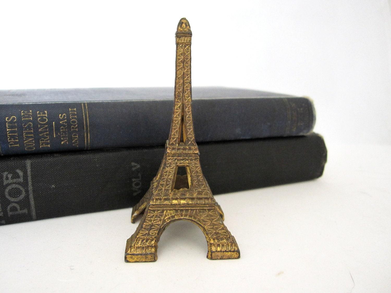 Vintage Eiffel Tower Statue Petite Metal By Thelazypeacock