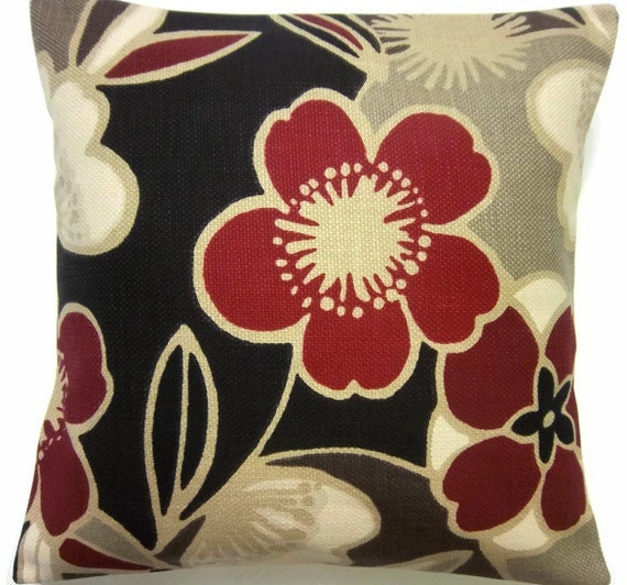 Two Chocolate Brown Red Creamtaupe Pillows By