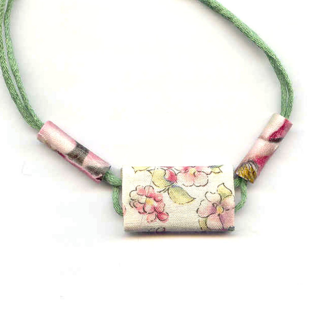 Fabric Necklace Textile Necklace Fiber Necklace Pink Jewelry Pastel Necklace Floral Necklace Spring Necklace Summer Necklace under 25 OOAK - Fibernique