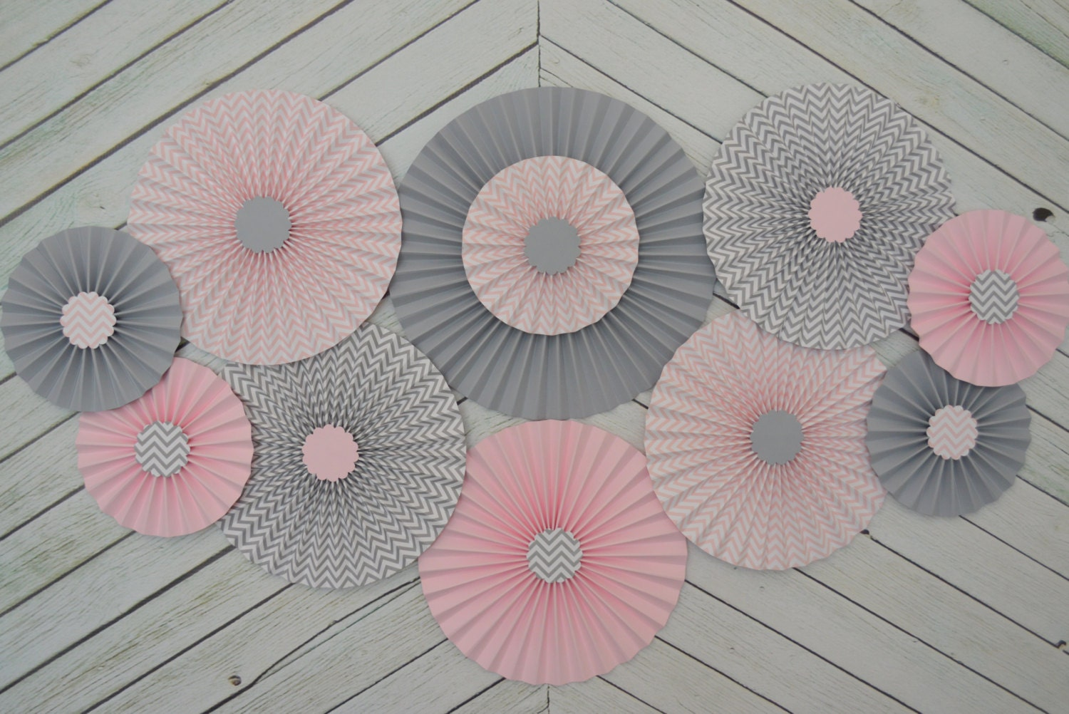 chevron pink grey paper fans rosettes decorations for girl baby
