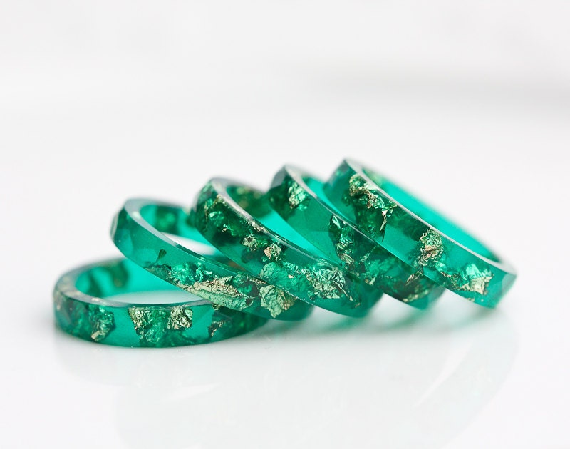 emerald green resin stacking ring gold flakes thin by