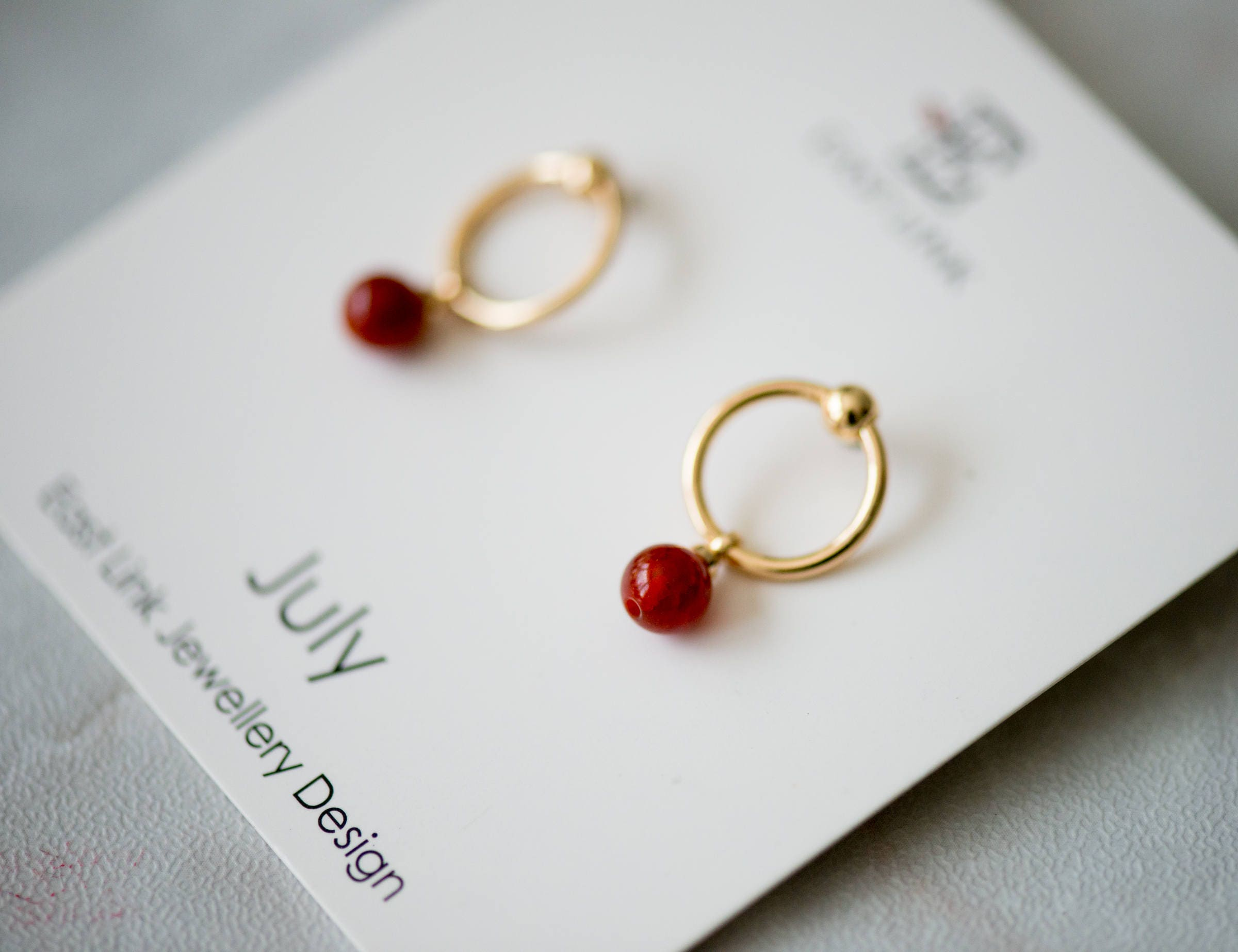 14K Gold plated natural stone July Birthstone red stud drop earrings hoop birthday gift