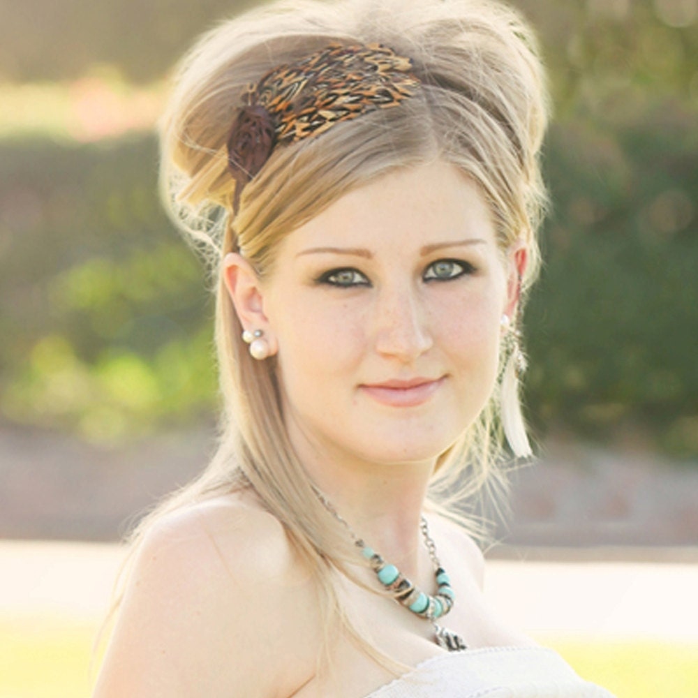 Boho Beauty Rosette and Natural Feathered Headband