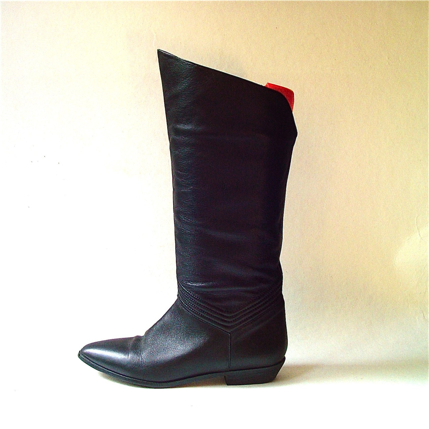 vintage black leather slouch boots by skinnyandbernie