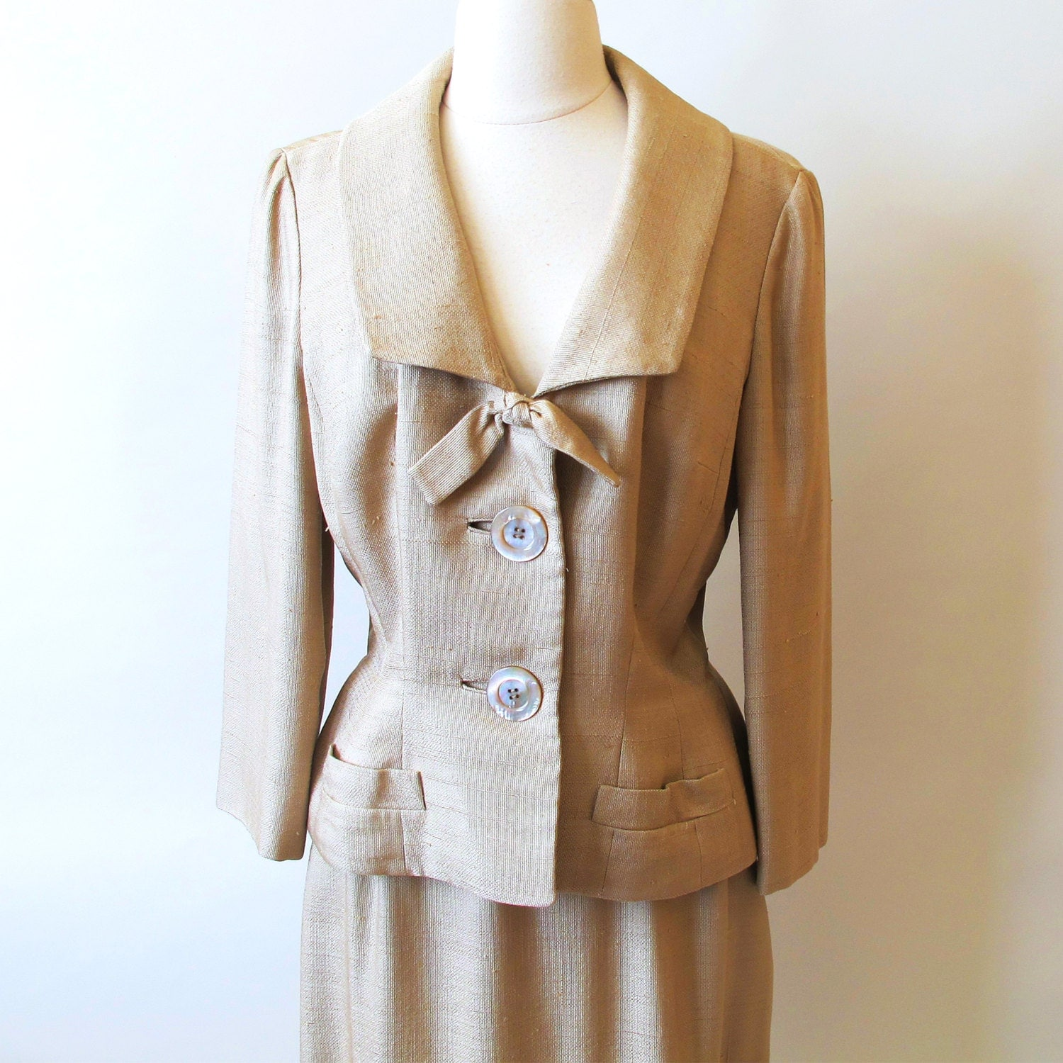 Reserve for Heather / Vintage Womans Suit , 50s suit, Beige Silk 2 Piece Suit by Branell - StraylightVintage