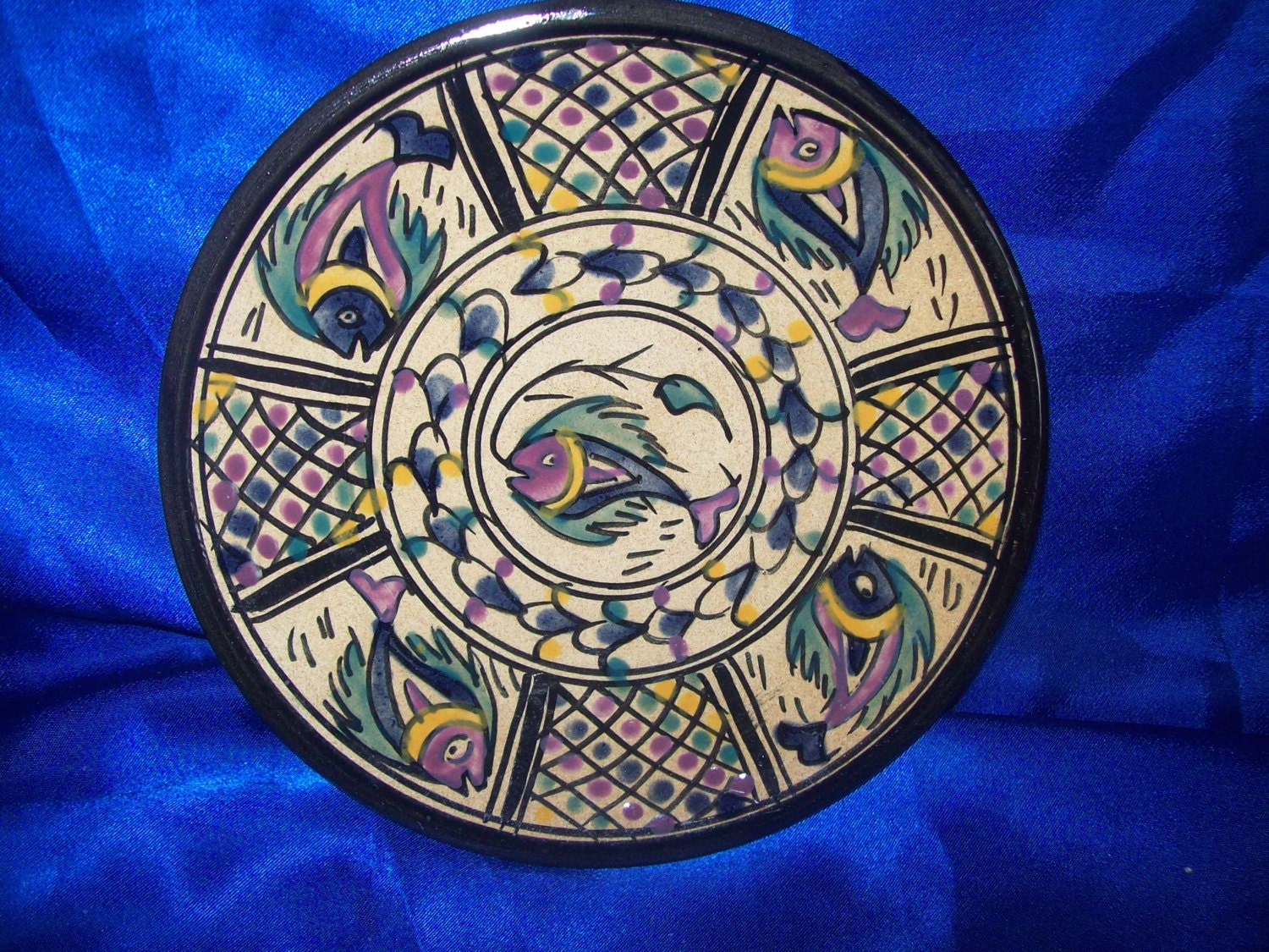 Handdecorated Earthenware Plate Fish Design made in Tunisia