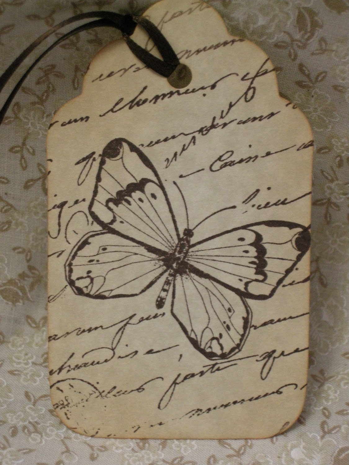 French Cocoa Bean Butterfly Tag - vintage style, shabby chic style, french style, ephemera, gift tag, bookmark tag, nature- set of 6