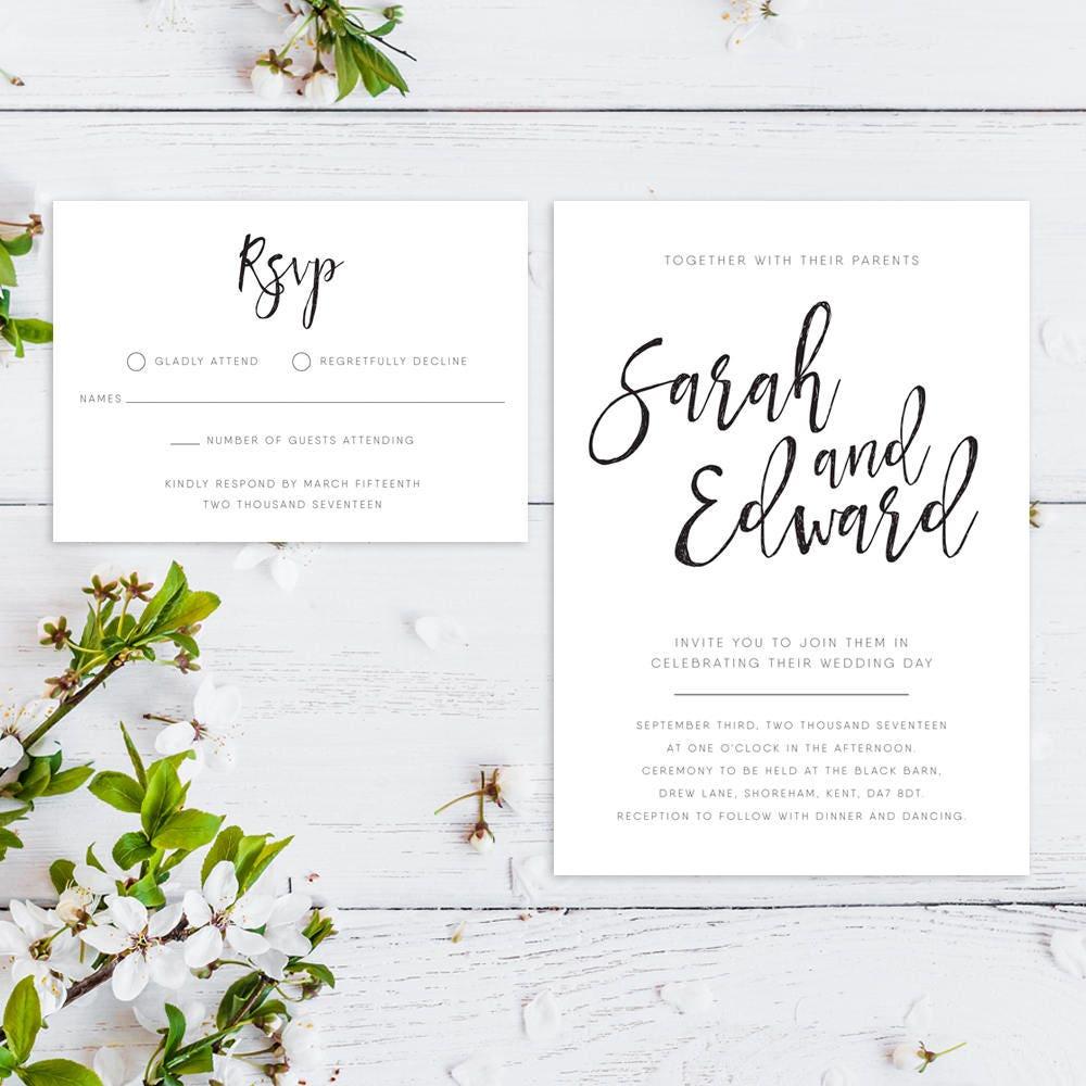 Printable Wedding Invitation RSVP Save the date Thankyou card PDF Download Custom Calligraphy Script Sarah suite 001