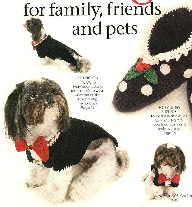 X064 Crochet PATTERN ONLY Dog Tuxedo Slippers and by BeadedBundles